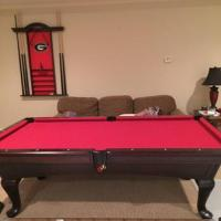 Pool Table with Wall Rack
